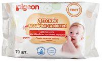 Влажные салфетки детские PIGEON для рук и рта, пустышек, игрушек, 70 шт (А)
