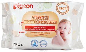 Влажные салфетки детские PIGEON для рук и рта, пустышек, игрушек, 70 шт