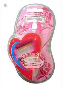 """Feather  """" Mermaid Rose Pink""""  Женский бритвенный станок """"Русалочка"""" с тройным лезвием (2 кассеты)"""