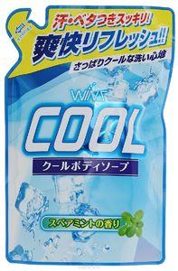 """NIHON   """"Wins Cool body soap""""  Охлаждающее мыло для тела  с ментолом и ароматом мяты, для мужчин и женщин, М/У, запасной блок 400мл."""