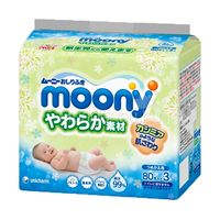MOONY Влажные мягкие салфетки для детей, запасной блок, 3* 80шт.   Упаковка 3 пачки (А)