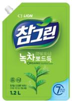 CJ Lion Средство для мытья посуды Chamgreen с ароматом зеленого чая, мягкая упаковка, 1200 мл (А)
