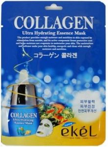 EKEL ULTRA HYDRATING ESSENCE MASK COLLAGEN  Ультраувлажняющая тканевая маска для лица с Коллагеном, для всех типов кожи 25г.