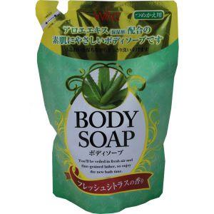 """NIHON  Крем-мыло для тела """"Wins Body Soap aloe"""" с экстрактом алоэ и богатым ароматом М/У (запаска), 400мл."""
