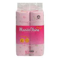 """IDESHIGYO Туалетная бумага двухслойная """"MARIEE CLAIRE"""", розовая с принтом, 27.5 м, 12 рулонов (А)"""