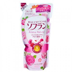 LION Soflan Кондиционер для белья с цветочным ароматом, ( с преобладанием аромата роз), запасной блок, 480 мл (А)