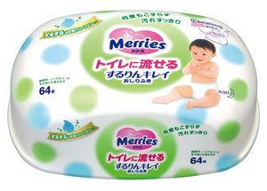 Влажные салфетки Merries в пластиковом контейнере (64 шт.)