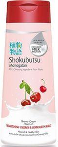 LION SHOKUBUTSU Крем-гель для душа с вишней и молочком Хокайдо, флакон 200мл.