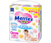 Набор: подгузники  Merries (NB, S, M, L) + салфетки Merries (в пластиковом контейнере, 64шт.)= 1449 руб