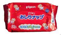 PIGEON Детские влажные гигиенические салфетки с косметическим молочком, запасной блок, 66 шт. (А)